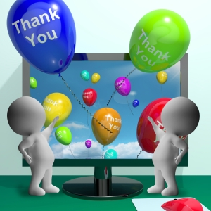 Thank You Balloons From Computer As Online Thanks Message
