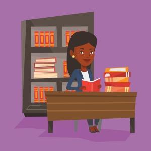 Student reading book vector illustration.