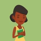 Student hugging her book vector illustration.