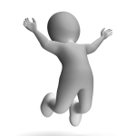 Jumping 3d Character Showing Excitement And Joy